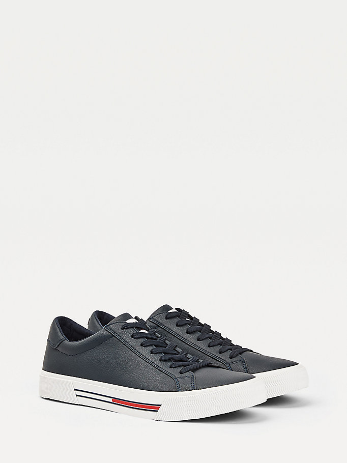 blue essential low-top lace up trainers for men tommy jeans