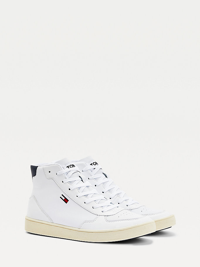 white essential mid-top cupsole trainers for men tommy jeans