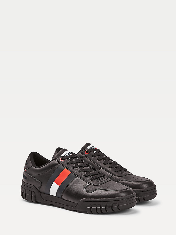 black colour-blocked retro trainers for men tommy jeans