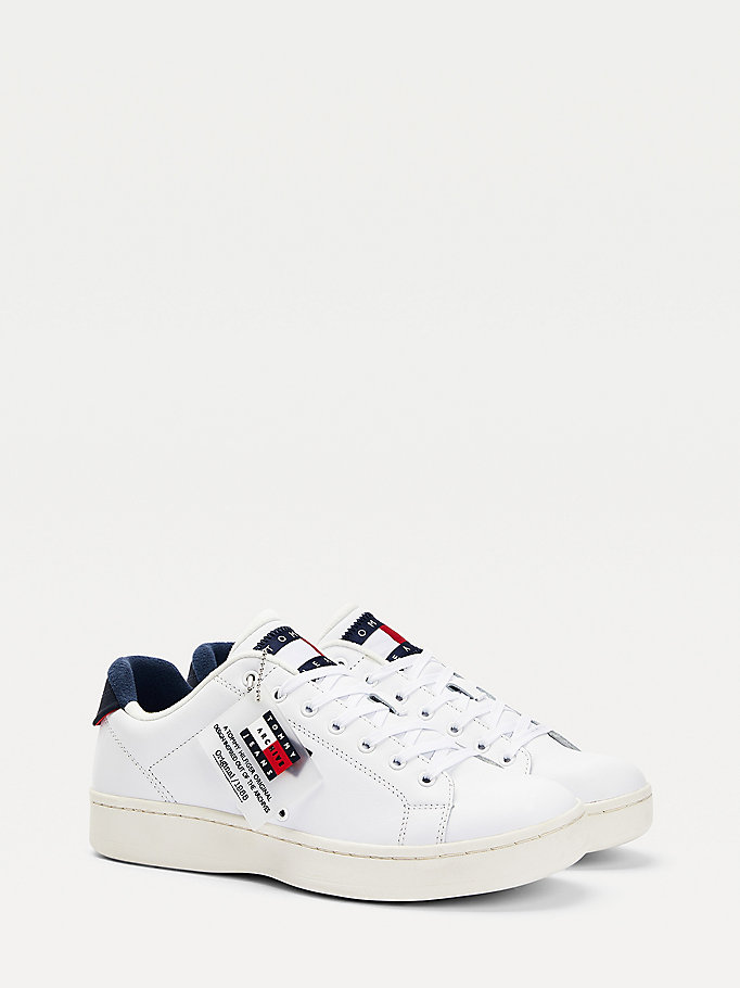 white leather mix cupsole trainers for men tommy jeans