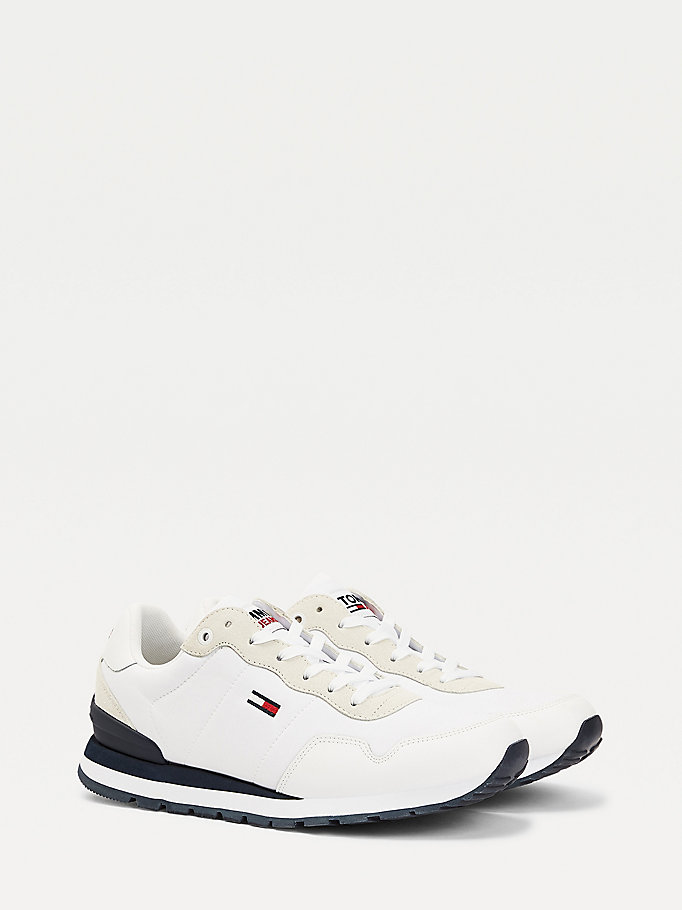 white flag embroidery colour-blocked trainers for men tommy jeans