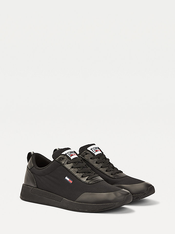 black chunky sole flag trainers for men tommy jeans