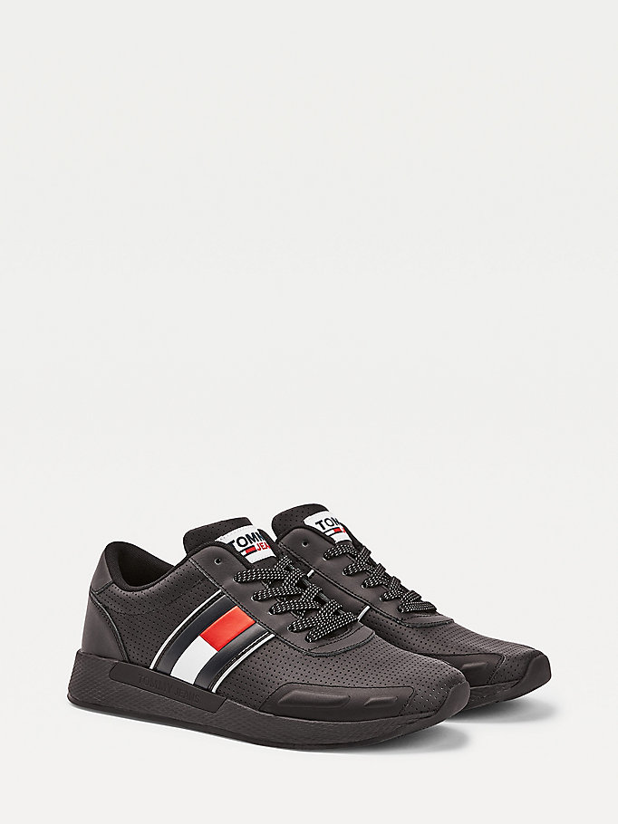 black perforated leather running shoes for men tommy jeans