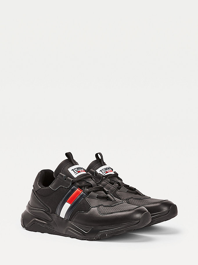 black colour-blocked chunky sole trainers for men tommy jeans
