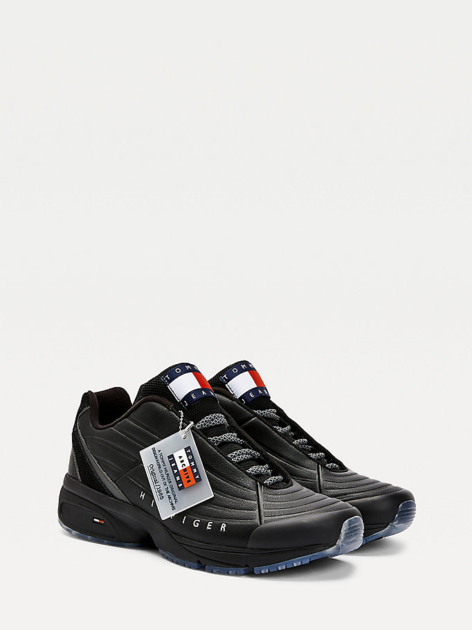 black heritage chunky sole leather trainers for men tommy jeans