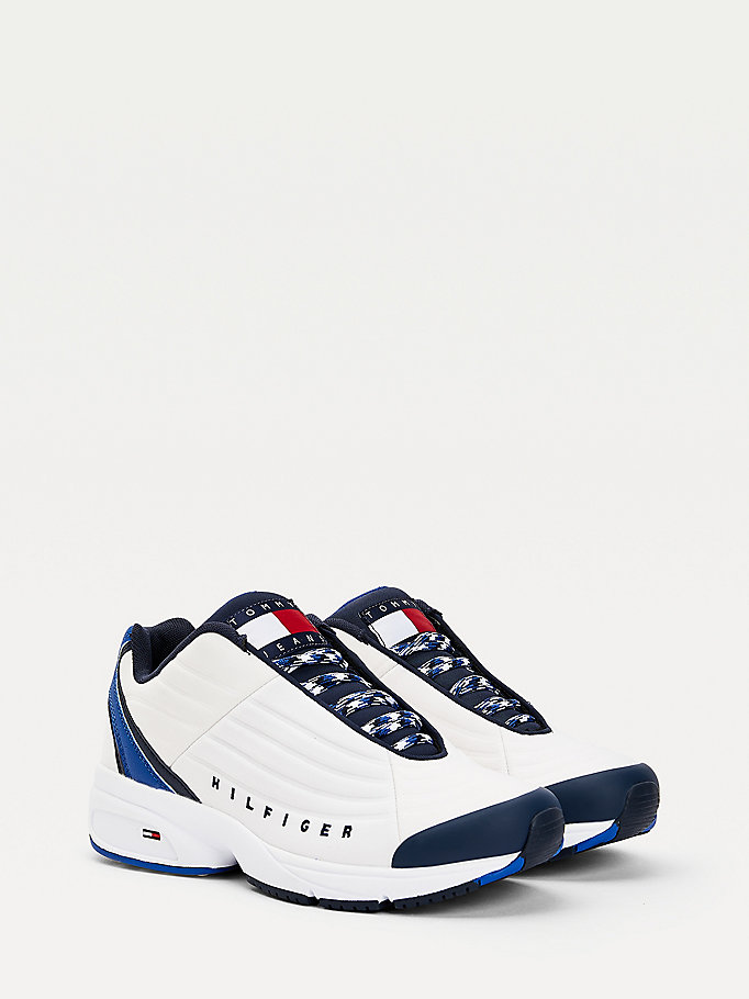 white chunky sole textured trainers for men tommy jeans
