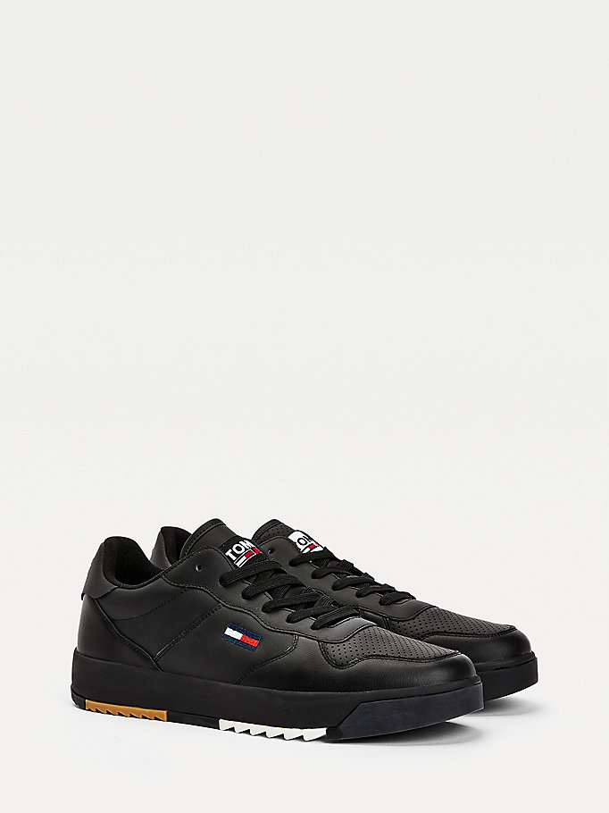 black cleated cupsole trainers for men tommy jeans