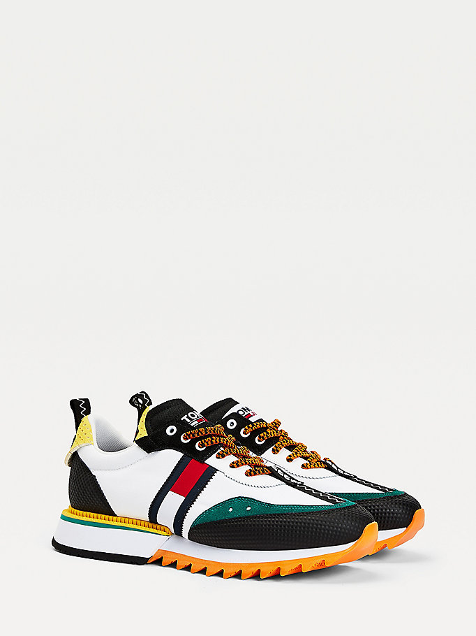 orange colour pop half-cleat trainers for men tommy jeans
