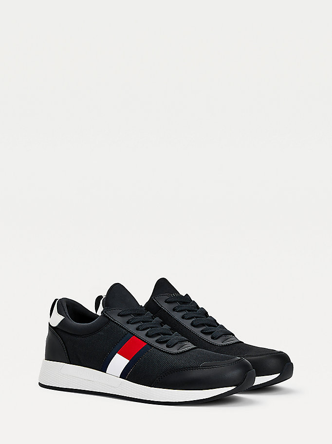 black stretch lace-up trainers for men tommy jeans