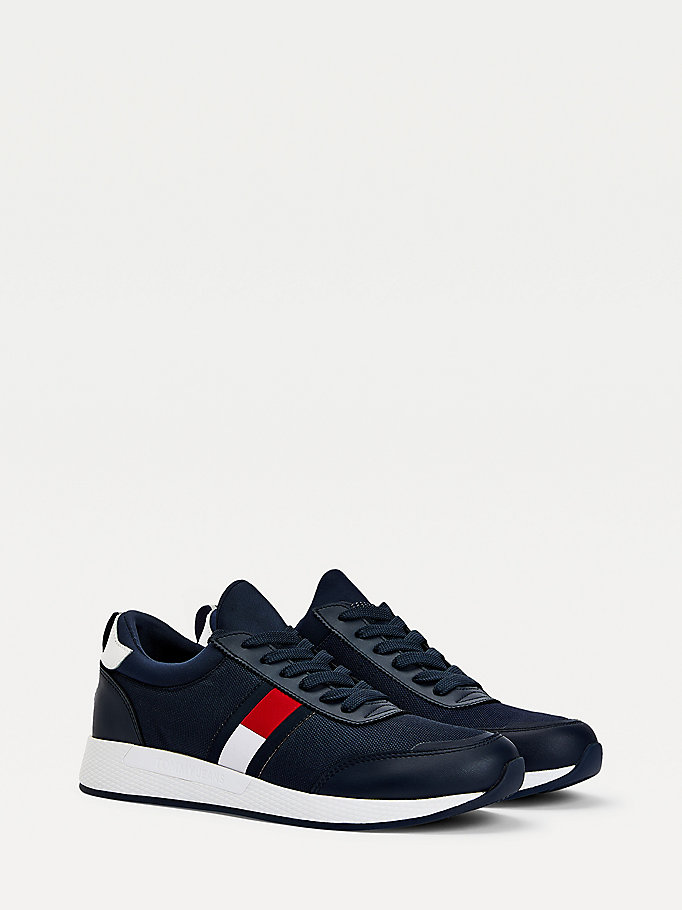 blue stretch lace-up trainers for men tommy jeans