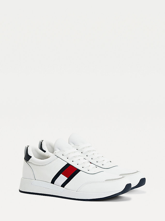 white stretch lace-up trainers for men tommy jeans
