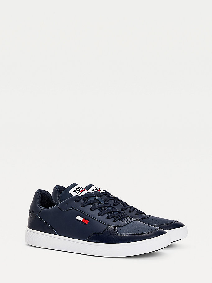blue essential flag leather cupsole trainers for men tommy jeans
