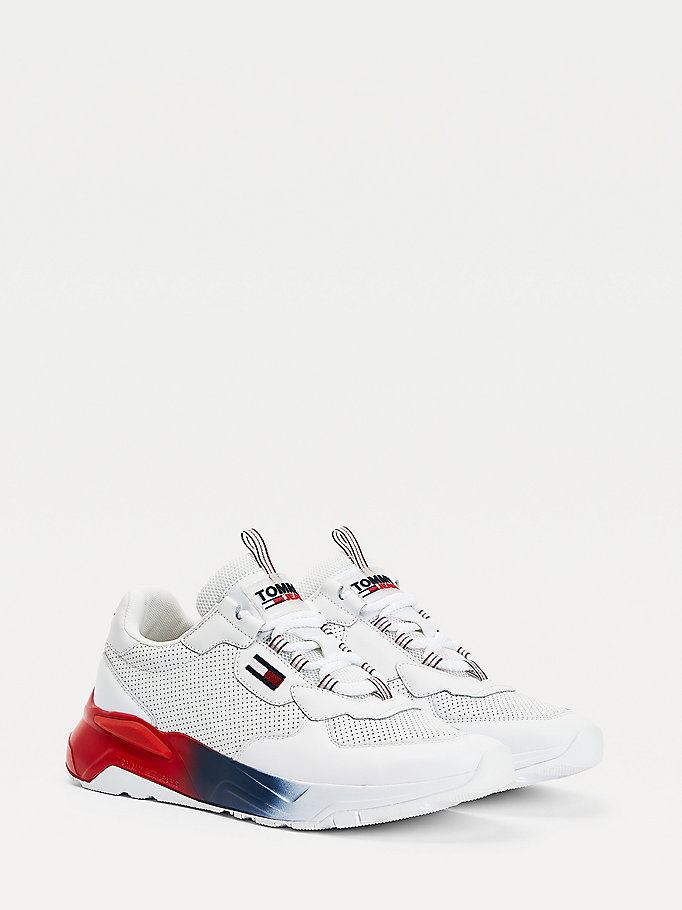 white chunky gradient sole trainers for men tommy jeans