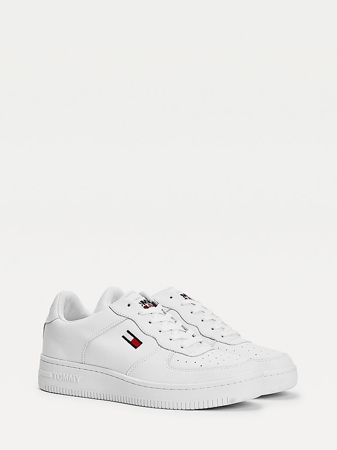 white mono-colour cupsole trainers for men tommy jeans