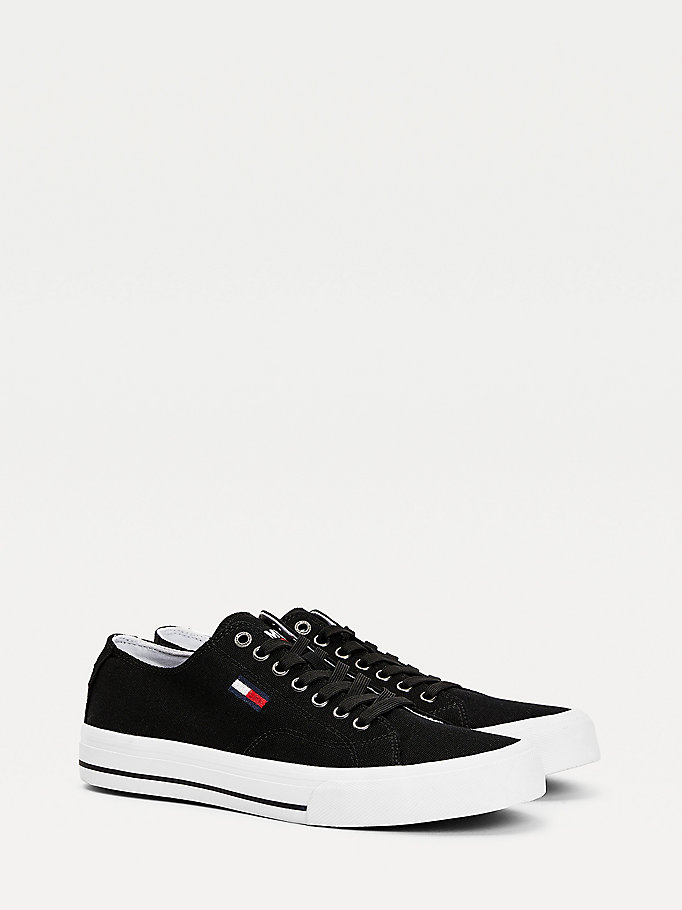 black recycled cotton low-top trainers for men tommy jeans
