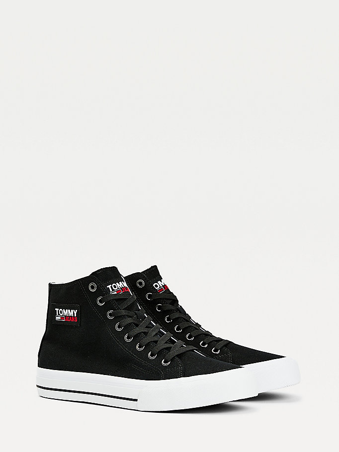 black recycled cotton high-top trainers for men tommy jeans