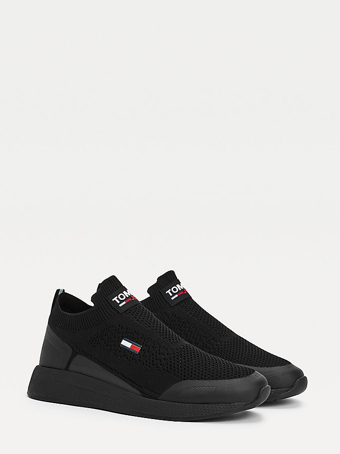 black mono-sock running shoes for men tommy jeans