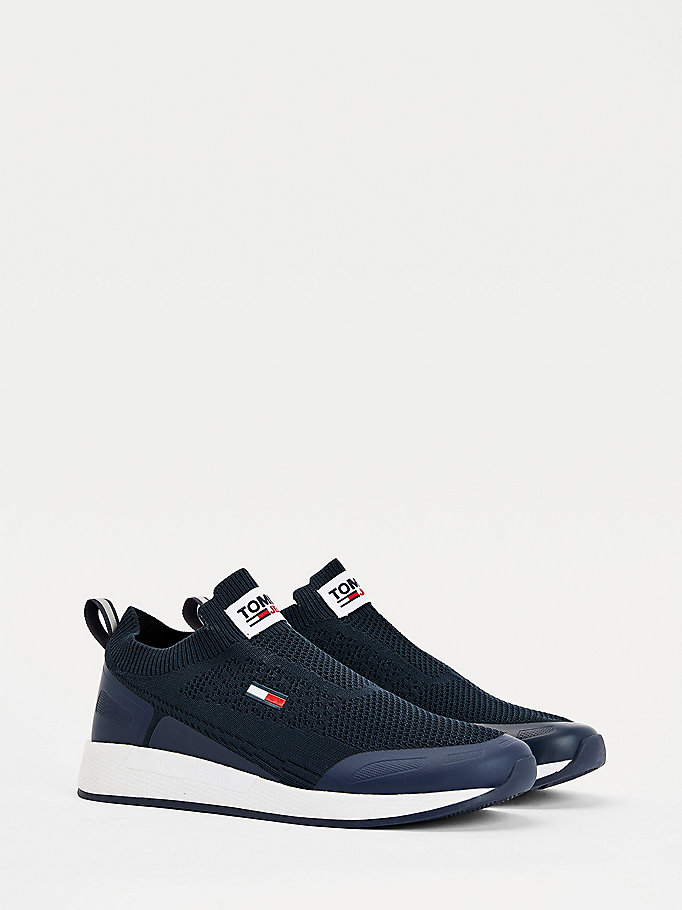 blue mono-sock running shoes for men tommy jeans