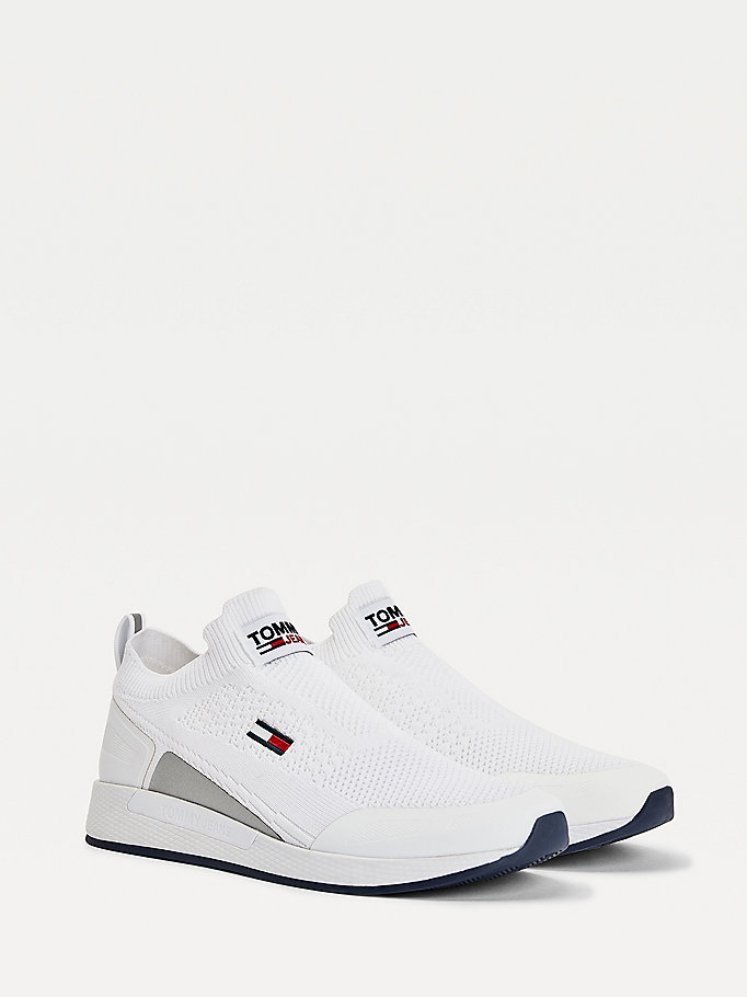white mono-sock running shoes for men tommy jeans