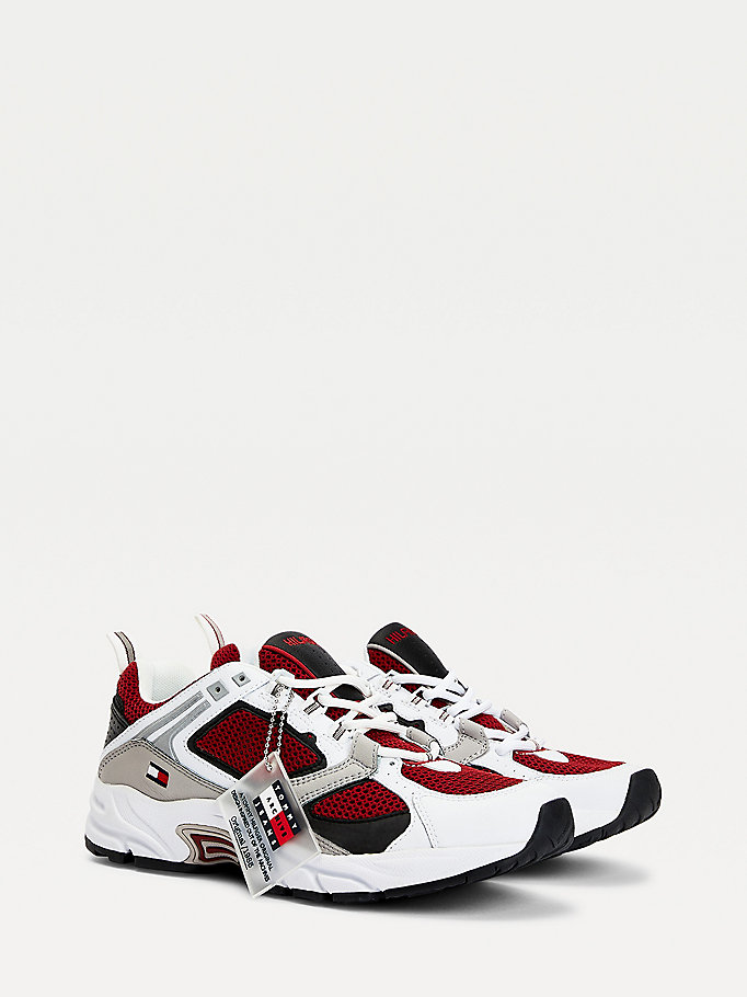 white archive mesh trainers for men tommy jeans