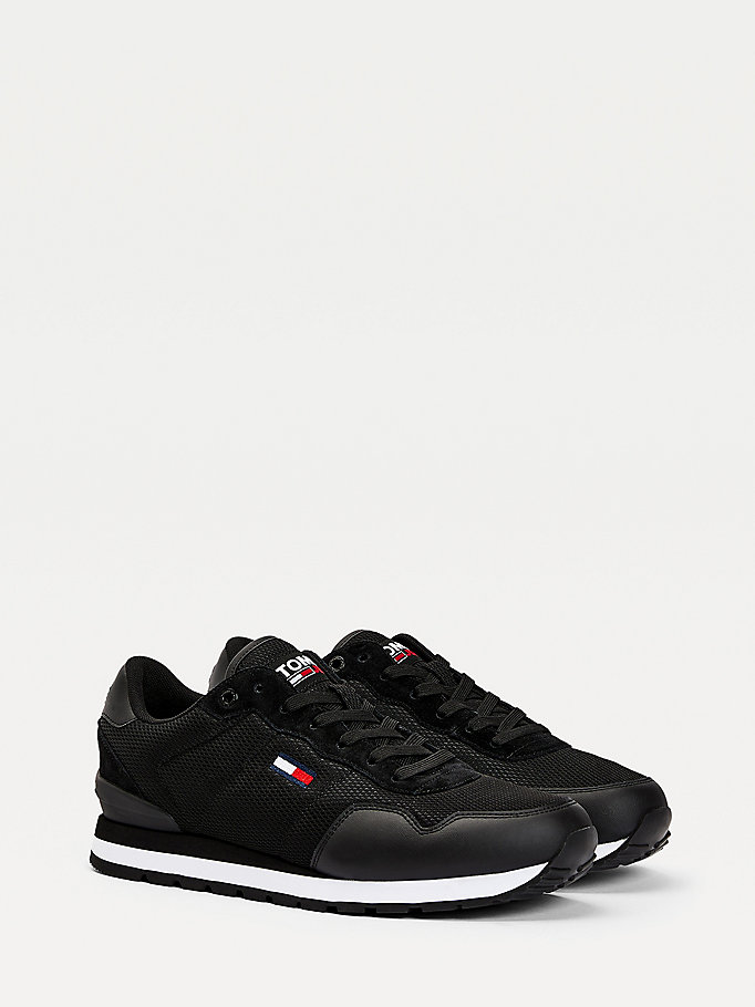 black low-top mesh trainers for men tommy jeans