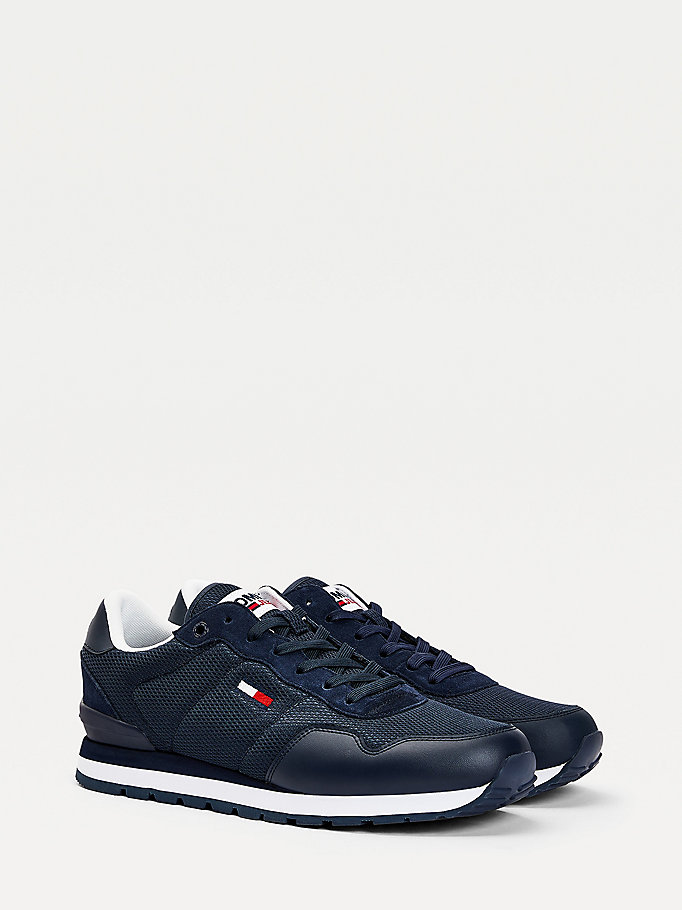 blue low-top mesh trainers for men tommy jeans