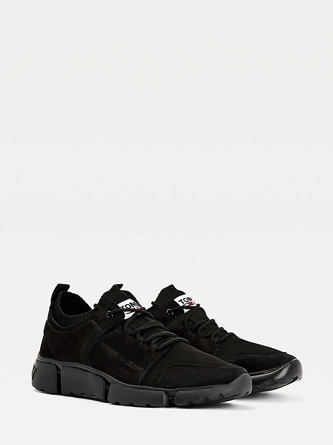 black chunky mono-sock leather trainers for men tommy jeans