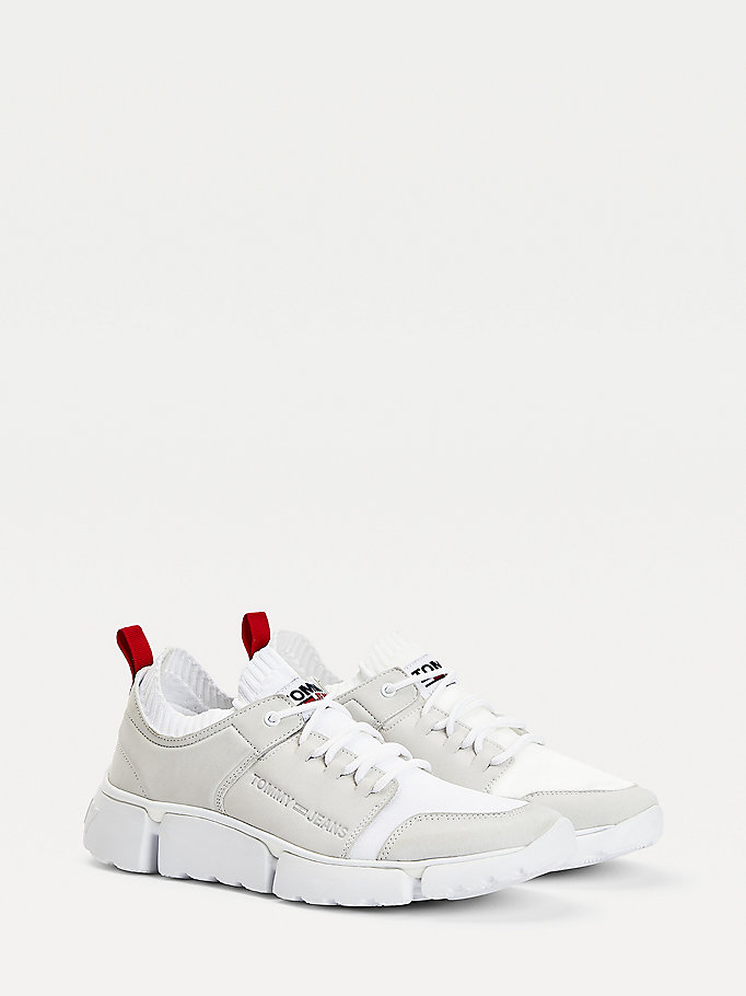 white chunky mono-sock leather trainers for men tommy jeans