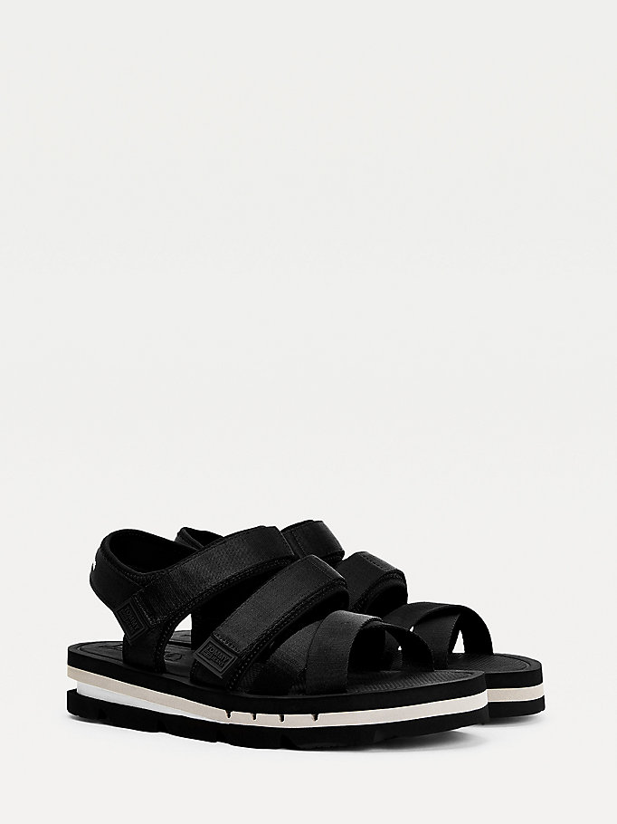 black chunky strap sandals for men tommy jeans