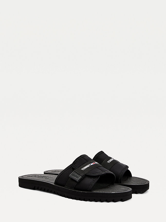 black slip-on sandals for men tommy jeans