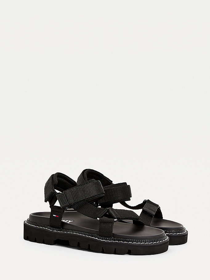 black colour pop chunky sandals for men tommy jeans