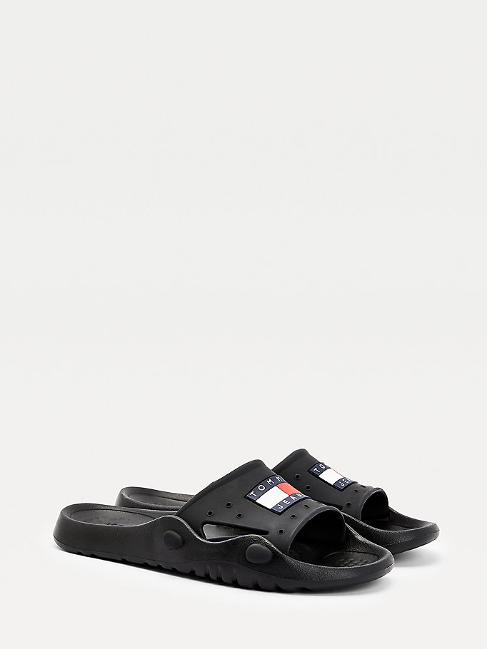 black heritage pool slides for men tommy jeans