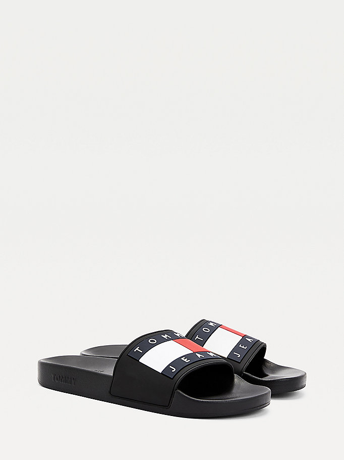 black rubber flag pool slides for men tommy jeans
