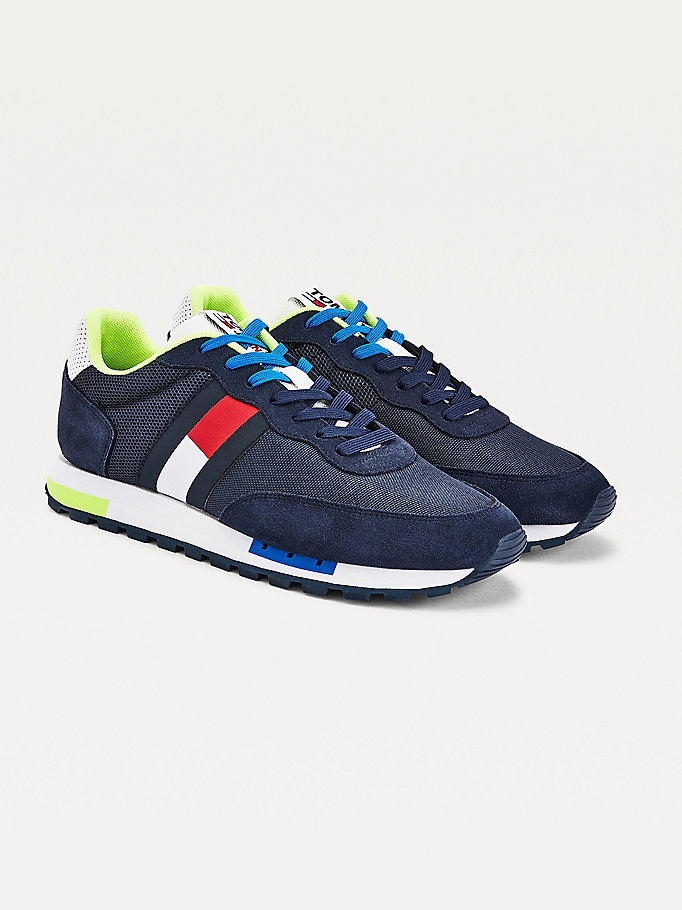 blue flag mixed panel trainers for men tommy jeans