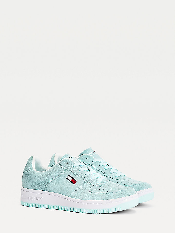blue pastel suede cupsole trainers for men tommy jeans