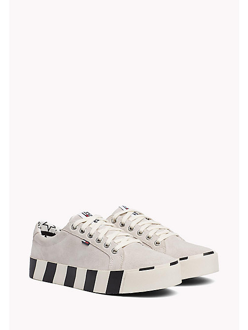 TOMMY JEANS Stripe Platform Suede Trainers - ICE - TOMMY JEANS Tommy Jeans Shoes - main image