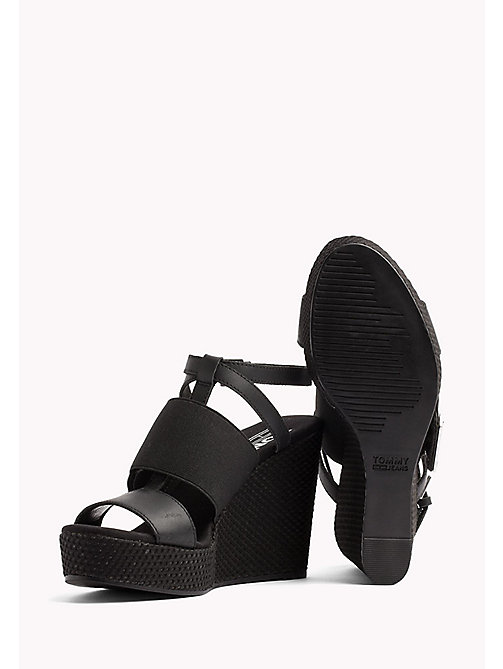 TOMMY JEANS Leather Wedge Sandals - BLACK - TOMMY JEANS Wedges - detail image 1