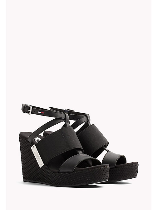 TOMMY JEANS Leather Wedge Sandals - BLACK - TOMMY JEANS Wedges - main image