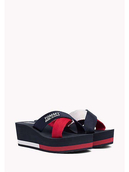 TOMMY JEANS Wedge Heel Sliders - TOMMY NAVY - TOMMY JEANS VACATION FOR HER - main image