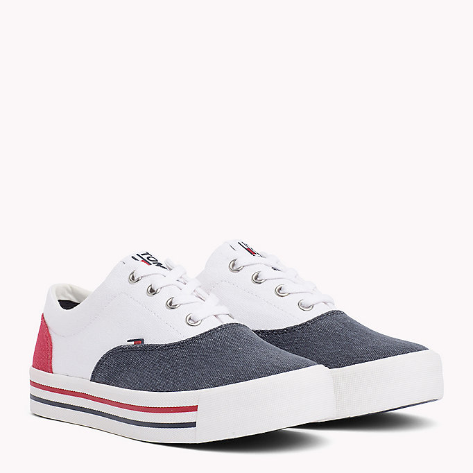 TOMMY JEANS Colour-Blocked Trainers - WHITE - TOMMY JEANS SHOES - main image
