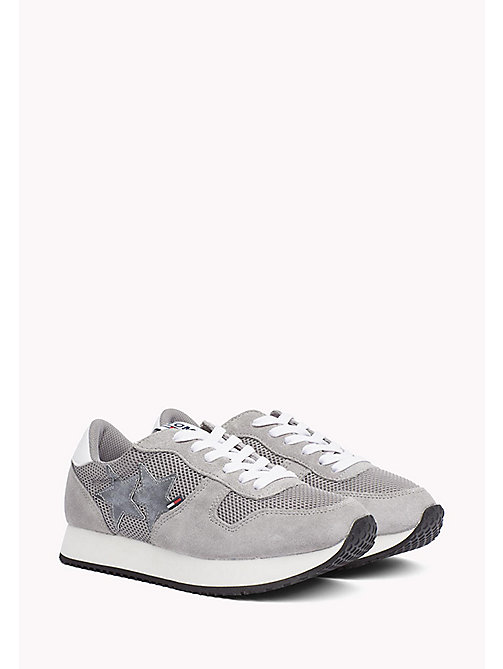 TOMMY JEANS Metallic Mesh Star Trainers - LIGHT GREY - TOMMY JEANS Tommy Jeans Shoes - main image