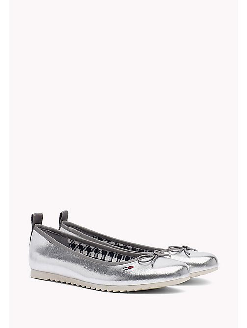 TOMMY JEANS Metallic Ballerina Shoes - SILVER - TOMMY JEANS WOMEN - main image