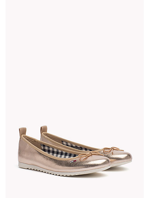 TOMMY JEANS Metallic Ballerina Shoes - ROSE GOLD - TOMMY JEANS WOMEN - main image