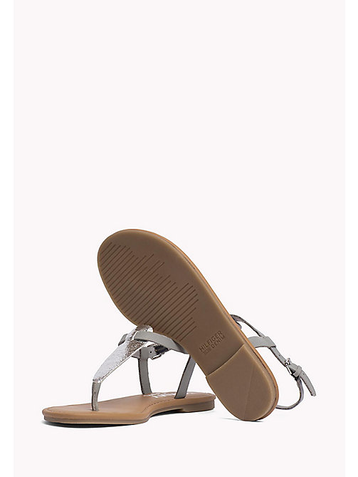 TOMMY JEANS Metallic Leather Sandals - SILVER - TOMMY JEANS Flat Sandals - detail image 1