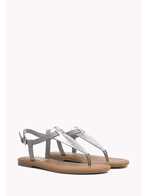 TOMMY JEANS Metallic Leather Sandals - SILVER - TOMMY JEANS Flat Sandals - main image