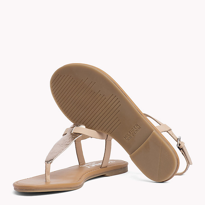 TOMMY JEANS Metallic Leather Sandals - SILVER - TOMMY JEANS Women - detail image 1