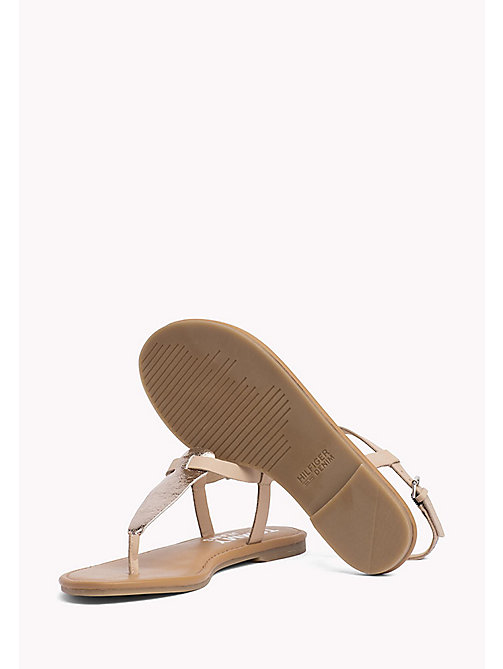 TOMMY JEANS Metallic Leather Sandals - ROSE GOLD - TOMMY JEANS Tommy Jeans Shoes - detail image 1
