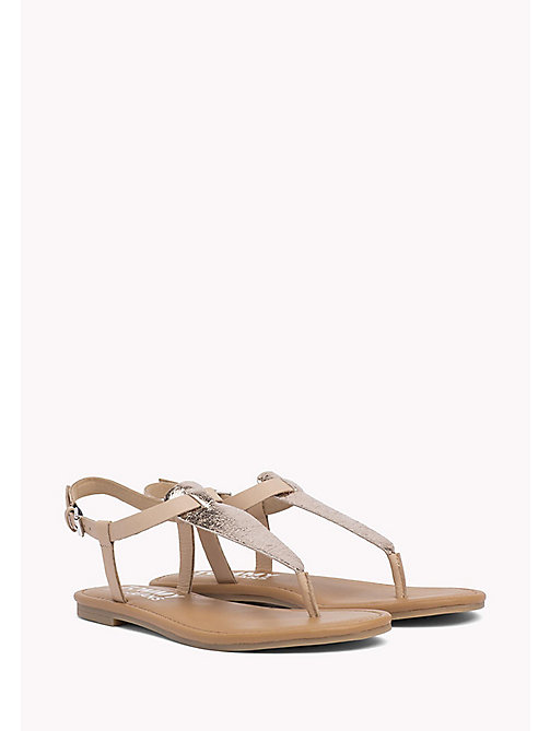 TOMMY JEANS Metallic Leather Sandals - ROSE GOLD - TOMMY JEANS Flat Sandals - main image