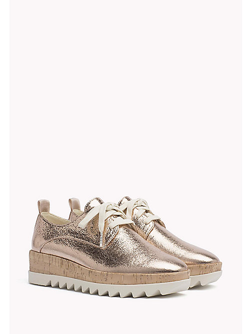 TOMMY JEANS Metallic Platform Shoes - ROSE GOLD - TOMMY JEANS Flat Shoes - main image
