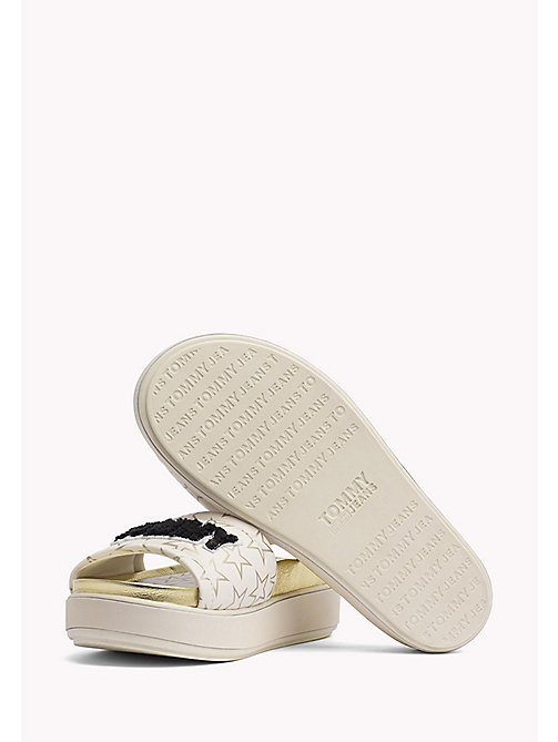 TOMMY JEANS Metallic Star Print Sliders - WHITE - TOMMY JEANS Tommy Jeans Shoes - detail image 1